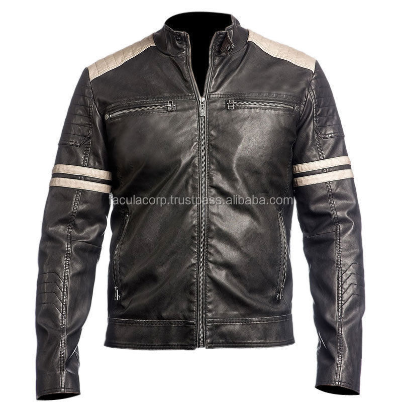 NEW Men's Leather Jacket Black Slim Fit Biker Vintage Motorcycle r-FC-16878