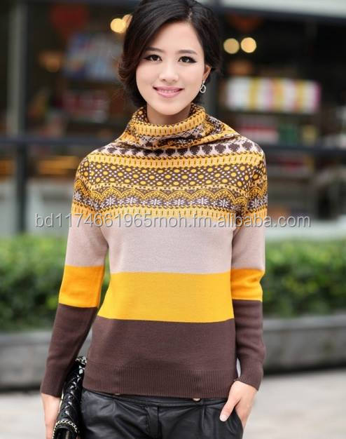 100% wool turtleneck sweater for women high neck knitted sweater jacquard