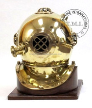 Brass Diving Helmet Mark IV w/Wooden Base ~ Collectible Nautical Diver's Helmet Vintage Reproduction Decor Gift