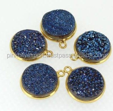 Calibrated size Blue druzy Round single connector sterling silver 925