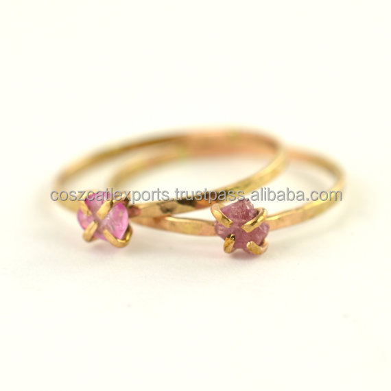 wholesale stainless steel Raw Pink Sapphire Ring casual casting gemstone ring Jewelry Silver Diamond