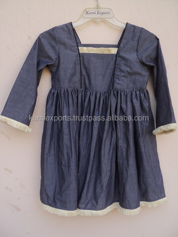 100% chambray fabric girls puffy dress for kids / 2015 best designer design pattern kids dress