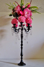 BLACK METAL HANGING CRYSTAL CANDELABRA, DECORATIVE CANDELABRA, TALL FLOOR STANDING CANDELABRA