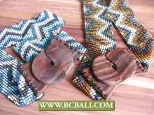 Bali beads belt motif color stretch wooden buckle handmade design