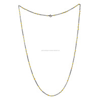 Natural Yellow Sapphire Bead Chain Necklace 925 Sterling Silver Gemstone Jewelry