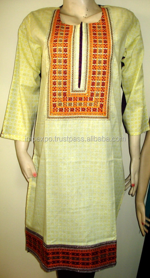 Latest kurti designs in Karachi / Kurta embroidery designs women full sleeve cotton kurti