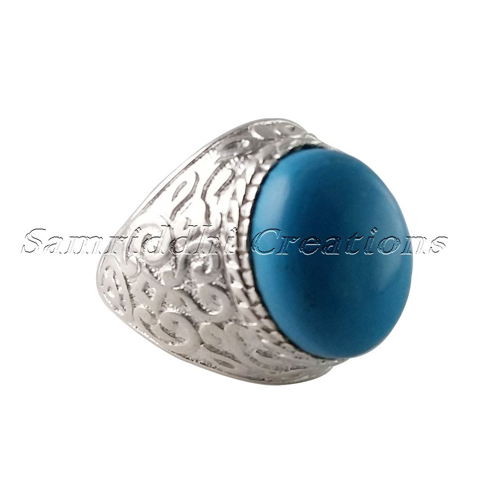 Artisan Design Of !! Blue Turquoise 925 Sterling Silver Bezel Setting Ring, Silver Jewelry, Handmade Silver Jewelry