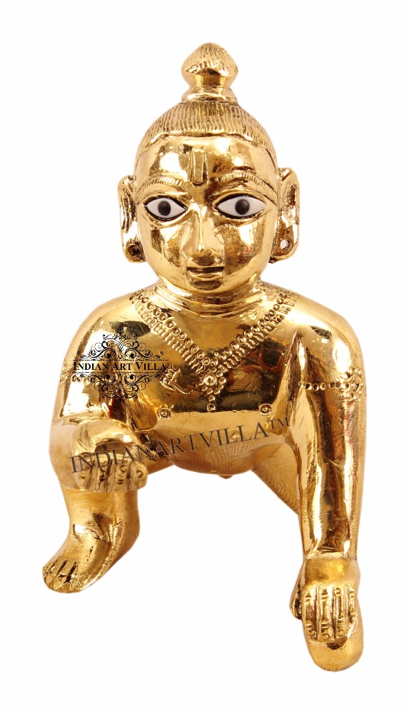 Indian Art Villa Brass Laddo Gopal Ji Krishna God Idol Occasional Gift Holy Hindu Pooja Item