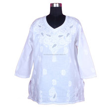 DR166 Indian Cotton Hand Chicken Embroidered Kurti Women Blouse Tunic Casual Shirt Ethnic Dress Lucknowi Kurti