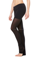 wholesale supplier slim and smart black legging with mesh covering legs and hidden key pocket in waistband