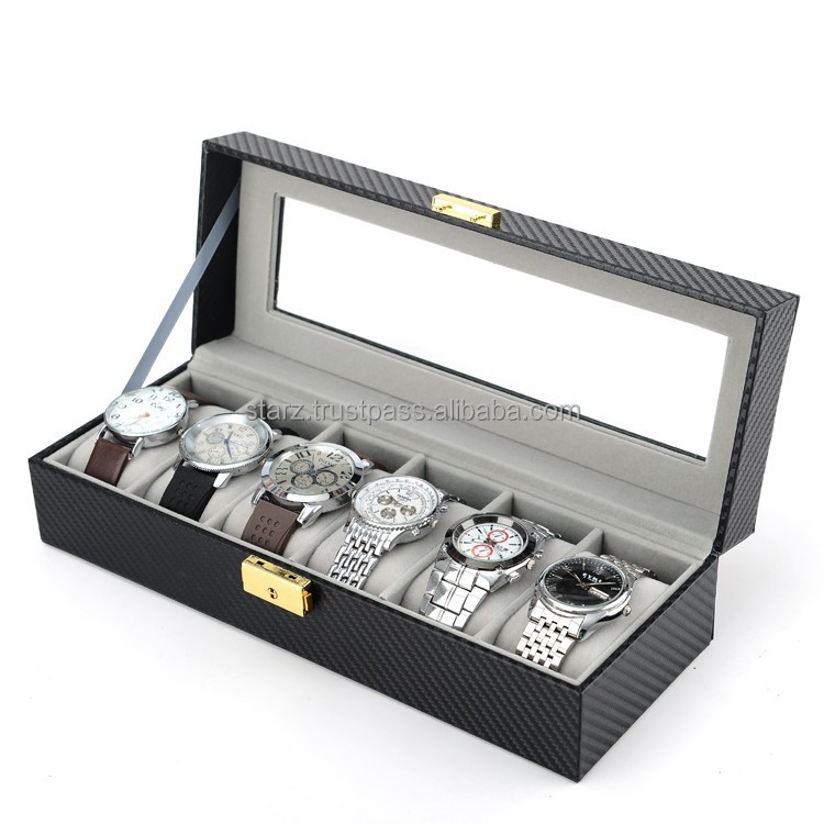 6 Slots Carbon Fiber Watch Case Storage Box