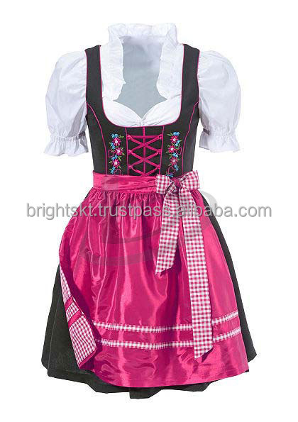 2015 Octoberfest spring women dirndls,3 pcs silk girlss dirndls,daren dirndl Midi Mini Dirndl (Traditional Garments)
