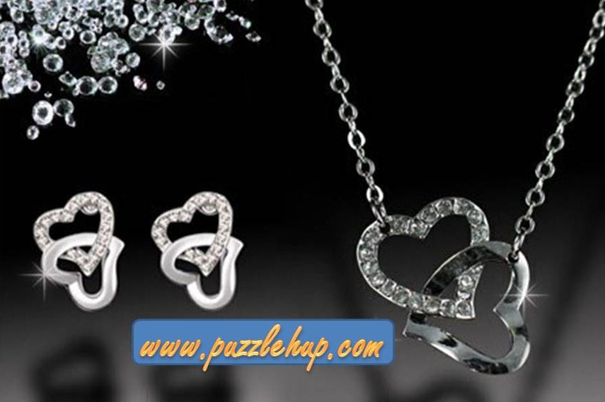 Premium Silver Heart-Shape Puzzle Necklace Jewellery