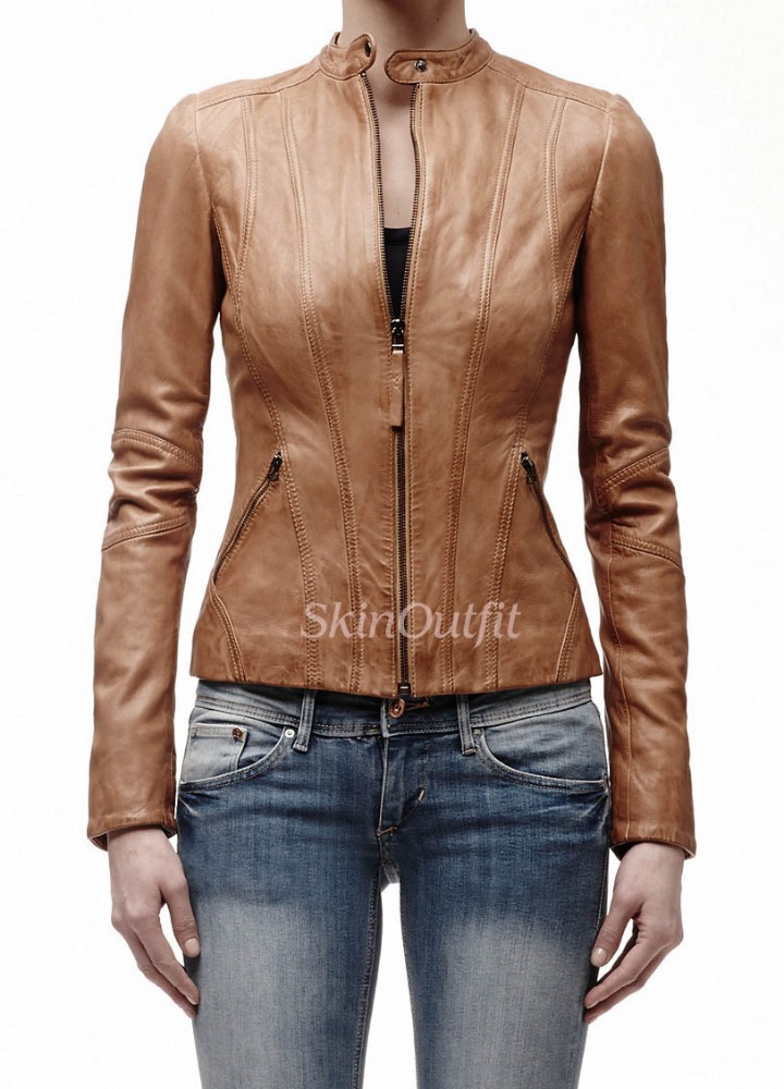 WoMen Real Sheep Brown Mens Leather Jacket