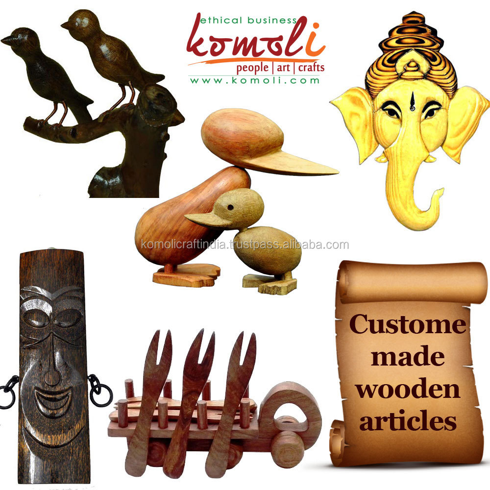 Indian handmade Danish design animal wood carving wooden figurines