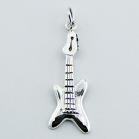 Sterling Silver Music Charm Pendant Shiny Electrical Guitar