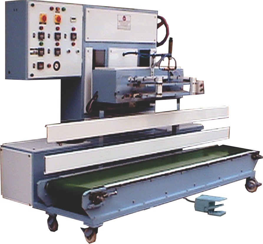 PNEUMATICALLY OPERATED SEMI-AUTOMATIC VERTICALLY MOUNTED SEALERS WITH CONVEYOR