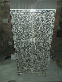 Indian & Moroccan Style Camel Bone Inlay Almirah Wardrobe Armoire (Bone & Mother of Pearl Inlay Furniture from India)