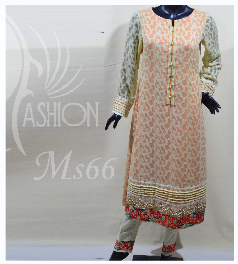 Cream khaddar Net Elegent trendy exclusive salwaar kameez three piece