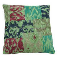 45cm Green Cushion Cover Cotton Handmade Patchwork Kantha Style Pillowcase Indian Gift Art PL15910