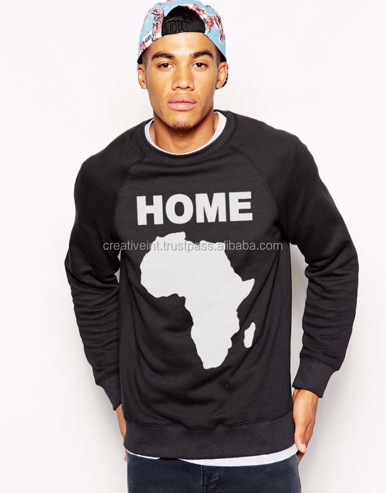 crew neck 100 cotton jumper plain black with map designs and sexy art sweatshirt