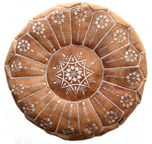Exotic Moroccan Handmade Genuine Leather Pouf