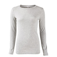Basic long sleeve gray colour round rib neck T-shirt for women attactive nice fashionable & trendy wholesale hot product of 2016