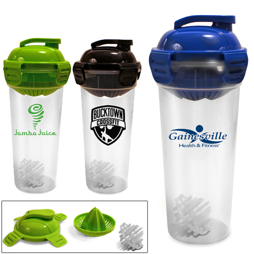 26 oz Juicer Bottle With Shaker Ball - juices fruit directly into your water, has an easy seal lid and comes with your logo