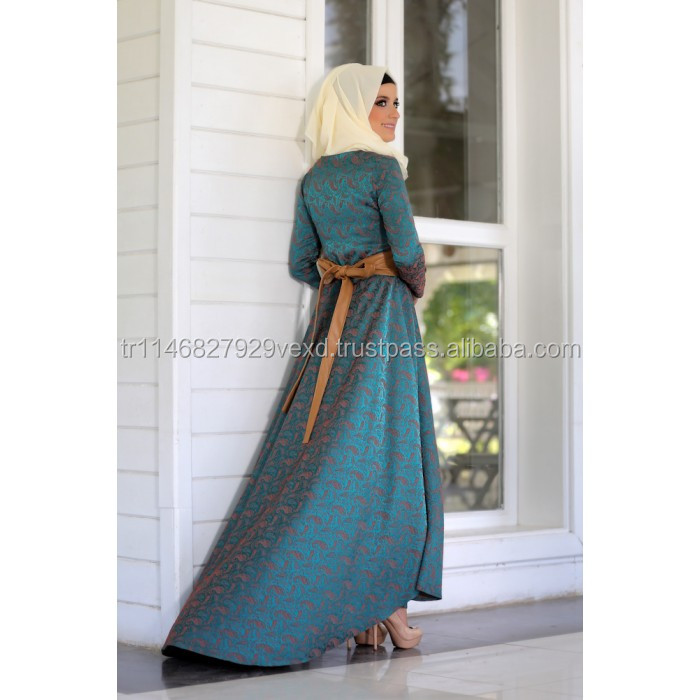 2016 High quality dress new style black latest design skirt muslim dress patterns