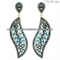 Diamond Blue Topaz Earrings 925 Sterling Silver Leaf Design White Sapphire Gemstone Dangle Earrings
