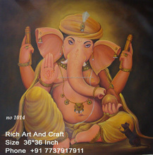 Jaipur Rajasthan Indian Art Gallery Hindu God Ganesha Ganpati Vinayak Oil Canvas Painting