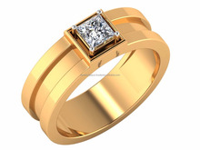 Shine On You Crazy Diamond Ring 14kt IGI Certified Diamond Solitaire 0.50ct Yellow Gold For Male