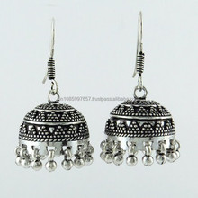 Perfect Oxidized Jhumka 925 Sterling Silver Earring, Online Silver Jewelry, Fine Silver Jewellery