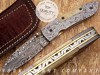 York Vivant-Custom Handmade Damascus Steel Folding Knife YVF-02 CAMEL BONE & DAMASCUS STEEL HANDLE