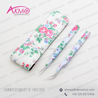 Summer Design Straight & Curved Eyelash Extension Tweezers Leather Case to protect your Tweezers