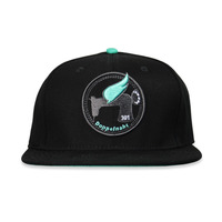 Fitted Cap - 6 Panel - Fabric: Cotton Twill - Crown: Medium - Visor: Round Flat Brim - Color: Black & Turquois