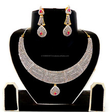 BollyWood Style Bridal Amercian Diamond Jewellery-American Diamond Fancy Bridal Necklace-Wholesale CZ bridal Jewelry