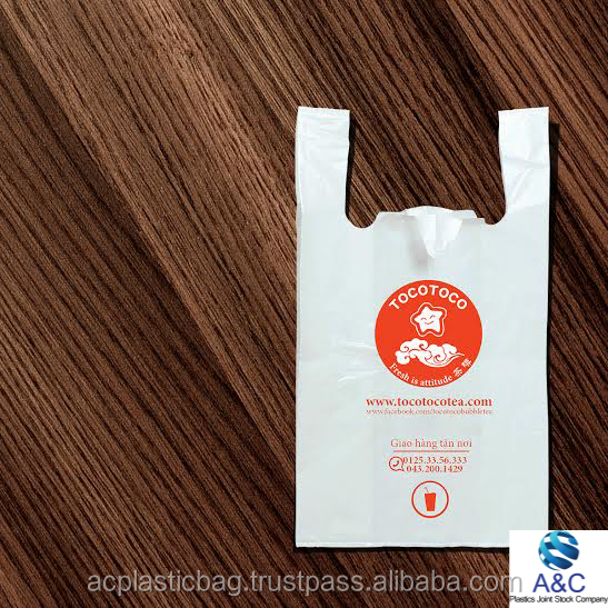 100% Quality Guarantee T shirt Plastic Bags for Shopping and Packaging Food with Cheap price and Custom Printed