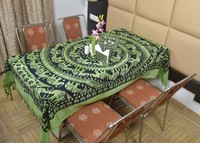 Indian Cotton Table Cloth Green Mandala Elephants Printed Dinning Table Cloth Vintage Wall Hanging Throw Bed Sheet Cover TC21