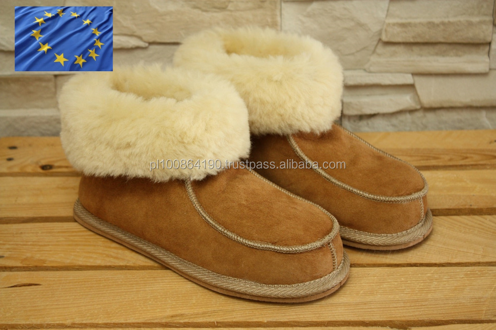 Genuine SHEEPSKIN Shoes Natural LEATHER Home Slippers OEM sevice EVA Sole