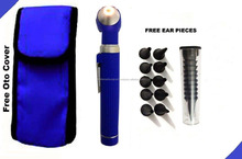 Blue LED Light Mini Fiber Optic Pocket Ent Medical Otoscope + Free Penlight