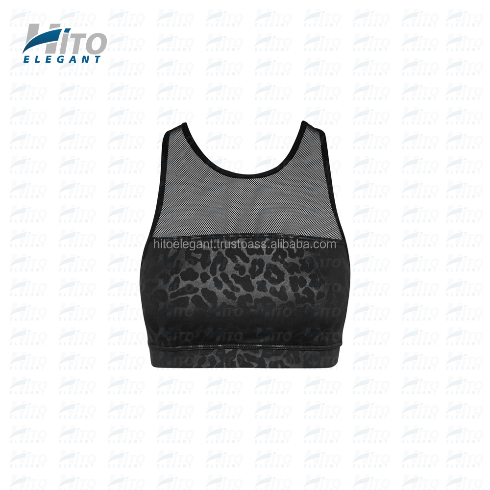 Hito Elegant High Quality Black Panther Fashionable Sexy Mesh Sports Bra, Fitness wear, Yoga & Active wear HE-SB-0001