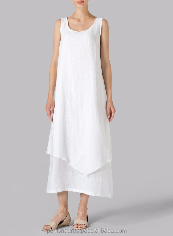 White Linen Tunic Double Layered Long Dress