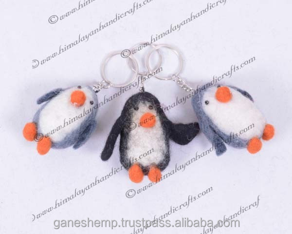 felt penguin key ring