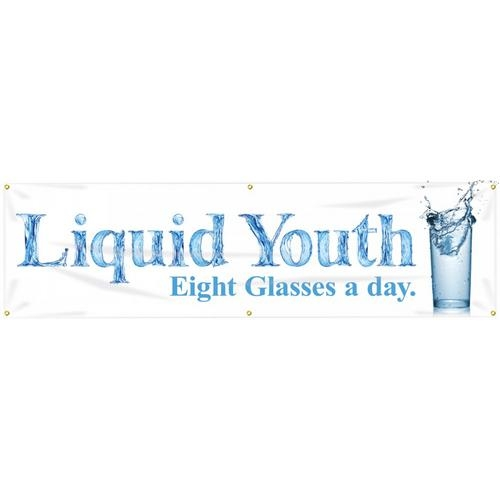 "Accuform MBR726, WorkHealthy 28"" x 8' Banner with Legend: ""Liquid Youth Eight Glasses a Day"""