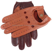 orange colored leather driving gloves
