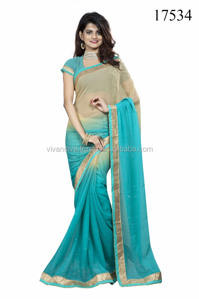 Blue Color Plain Zari Work Chiffon Saree