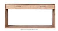 MDF 2 drawer long console table natural finish from KG Handicraft Vietnam