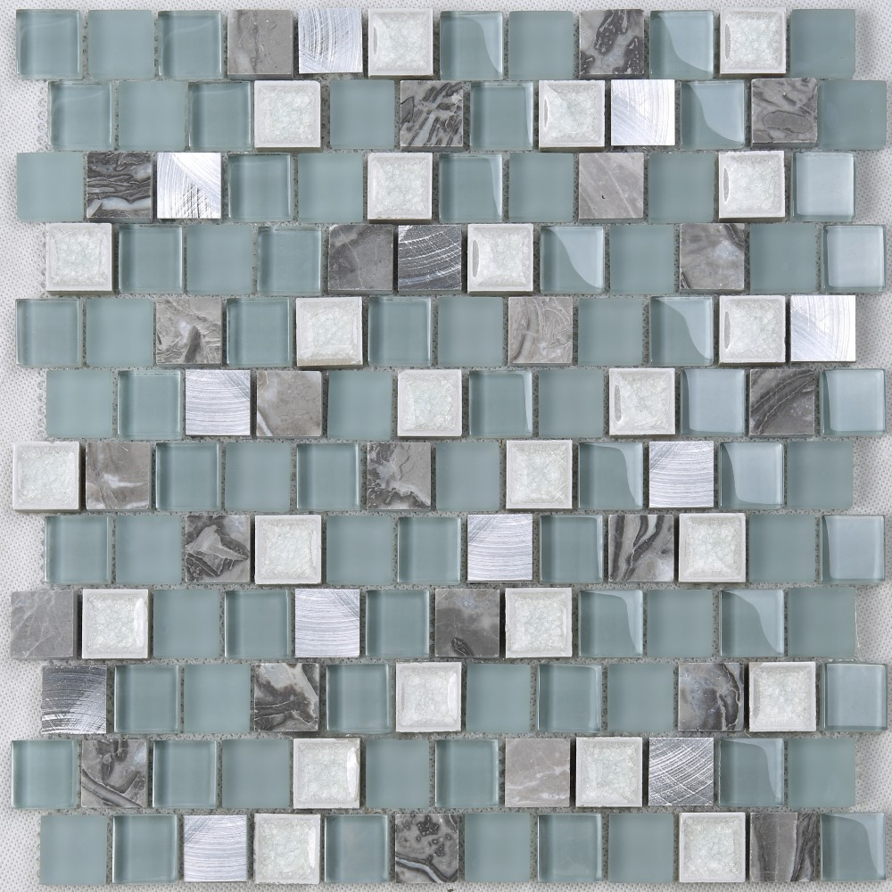 Foshan Building Material Linear Strip Pure Glass Blue Mosaic Wall ...