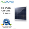 ACOPOWER 50w Poly Photovoltaic PV Solar Panel Module with MC4 Connectors 12v Battery Charging